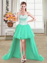 Sexy Turquoise Ball Gowns Sweetheart Sleeveless Organza High Low Lace Up Beading Homecoming Dress