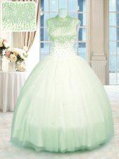 Ball Gowns Quince Ball Gowns Green High-neck Tulle Sleeveless Floor Length Zipper