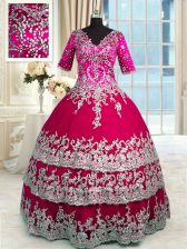 Stylish Ruffled Floor Length Ball Gowns Half Sleeves Red and Hot Pink 15th Birthday Dress Zipper