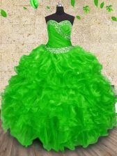 Adorable Floor Length Quinceanera Gown Organza Sleeveless Beading and Appliques and Ruffles and Ruching