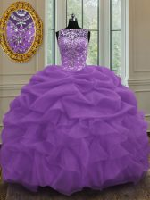Decent Pick Ups Floor Length Purple Quince Ball Gowns Scoop Sleeveless Lace Up