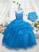 Straps Sleeveless Pageant Gowns For Girls Floor Length Beading and Pick Ups Aqua Blue Organza
