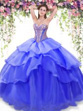 Organza Sleeveless Floor Length Sweet 16 Dresses and Beading and Ruffled Layers