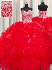 Colorful Visible Boning Beaded Bodice Ball Gowns Quinceanera Gowns Red Sweetheart Organza Sleeveless Floor Length Lace Up
