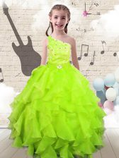Yellow Green One Shoulder Neckline Beading and Ruffles Little Girl Pageant Gowns Sleeveless Lace Up