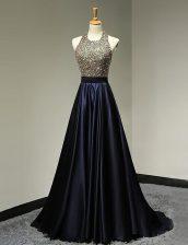 Glamorous Scoop Black Sleeveless With Train Beading Backless Evening Dress