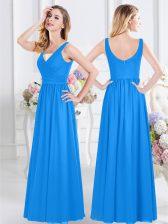 Smart Chiffon Sleeveless Floor Length Quinceanera Court Dresses and Ruching