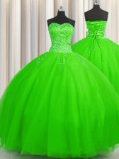 Enchanting Puffy Skirt Sleeveless Lace Up Floor Length Beading Sweet 16 Dress