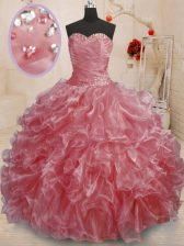 On Sale Watermelon Red Ball Gowns Sweetheart Sleeveless Organza Floor Length Lace Up Beading and Ruffles Ball Gown Prom Dress