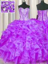 Dynamic Eggplant Purple Ball Gowns Organza Sweetheart Sleeveless Beading and Ruffles Floor Length Lace Up Vestidos de Quinceanera