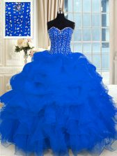 Sweetheart Sleeveless Lace Up Sweet 16 Dresses Royal Blue Organza