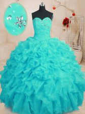 High Quality Aqua Blue Organza Lace Up Sweetheart Sleeveless Floor Length Ball Gown Prom Dress Beading and Ruffles