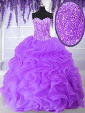 Floor Length Purple Vestidos de Quinceanera Organza Sleeveless Beading and Ruffles