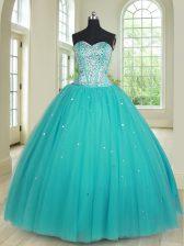 Aqua Blue Sleeveless Floor Length Beading Lace Up Sweet 16 Quinceanera Dress