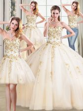 High Class Four Piece Sweetheart Sleeveless Quinceanera Gown Floor Length Beading Champagne Tulle