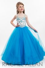 Custom Designed A-line Little Girls Pageant Gowns Blue Straps Tulle Sleeveless Floor Length Zipper