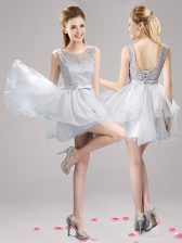 Scoop Sleeveless Lace Up Prom Dresses Grey Organza