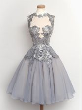Scalloped Grey Cap Sleeves Chiffon Zipper Evening Dress for Prom and Party