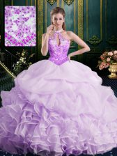 Elegant Lavender Ball Gowns Halter Top Sleeveless Organza Brush Train Lace Up Beading and Lace and Appliques and Ruffles and Pick Ups 15th Birthday Dress