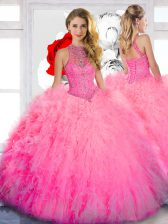 Sexy Baby Pink Sleeveless Beading Floor Length Quinceanera Dress