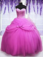Lilac Lace Up Sweetheart Beading and Sequins and Bowknot Quinceanera Gowns Tulle Sleeveless