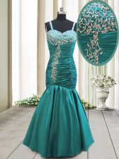 Mermaid Straps Floor Length Lace Up Prom Dress Teal for Prom and Party with Beading and Ruching