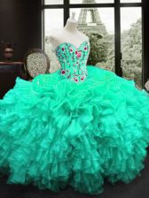 Custom Made Sleeveless Lace Up Floor Length Embroidery and Ruffles Quince Ball Gowns