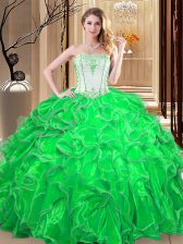 Hot Selling Strapless Sleeveless Quince Ball Gowns Floor Length Embroidery and Ruffles Green Organza