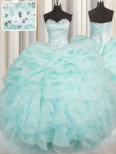 Aqua Blue Lace Up Quinceanera Dresses Beading and Ruffles Sleeveless Floor Length
