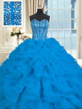 Blue Sweetheart Neckline Beading and Ruffles Sweet 16 Quinceanera Dress Sleeveless Lace Up