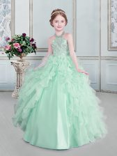Lovely Halter Top Sleeveless Organza Little Girls Pageant Gowns Beading and Ruffles Lace Up