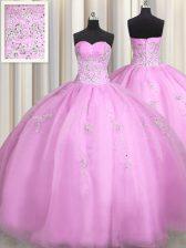 Sweetheart Sleeveless Lace Up Sweet 16 Dress Lilac Organza