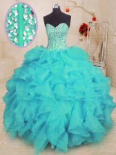 Floor Length Aqua Blue Quinceanera Gown Organza Sleeveless Beading and Ruffles