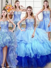 Four Piece Ruffles and Sequins Sweet 16 Dresses Multi-color Lace Up Sleeveless Floor Length