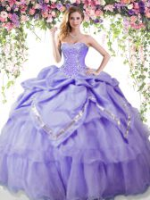 Beading and Pick Ups 15th Birthday Dress Lavender Lace Up Sleeveless Floor Length