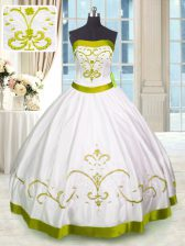 Fitting White Lace Up Quinceanera Dress Embroidery Sleeveless Floor Length