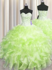 Colorful Visible Boning Yellow Green Sweetheart Neckline Beading and Ruffles Ball Gown Prom Dress Sleeveless Zipper