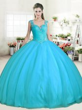 Aqua Blue Tulle Zipper Straps Sleeveless Floor Length Quinceanera Gown Beading