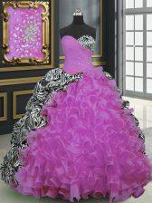 Printed Fuchsia Sleeveless Brush Train Beading and Ruffles and Pattern With Train Quince Ball Gowns