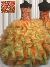 Simple Visible Boning Beaded Bodice Multi-color Organza Lace Up Quinceanera Gown Sleeveless Floor Length Beading and Ruffles