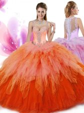 Dramatic Tulle V-neck Sleeveless Zipper Beading and Ruffles Quince Ball Gowns in Multi-color