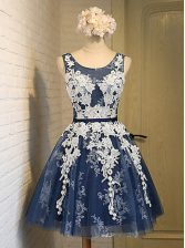 Scoop Sleeveless Evening Dress Knee Length Appliques Navy Blue Organza