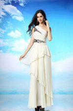 Cute Ruffled Column/Sheath White One Shoulder Chiffon Sleeveless Ankle Length Side Zipper