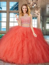 High End Scoop Backless Tulle Sleeveless Floor Length Sweet 16 Dress and Beading and Ruffles