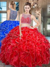 Organza Bateau Sleeveless Side Zipper Beading and Ruffles Quinceanera Gown in Red