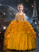 Dazzling Floor Length Lace Up Little Girls Pageant Gowns Orange for Party and Wedding Party with Beading and Ruffles