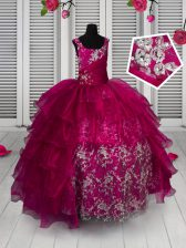 Top Selling Fuchsia Sleeveless Floor Length Appliques and Ruffled Layers Lace Up Little Girls Pageant Dress Wholesale
