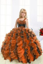 Orange Ball Gowns Straps Sleeveless Organza Floor Length Lace Up Beading and Ruffles Pageant Gowns For Girls