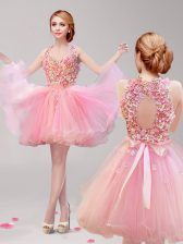 Fashionable Halter Top Sleeveless Tulle Mini Length Backless Prom Dresses in Pink with Ruffles and Hand Made Flower