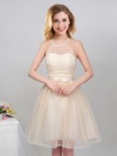 Popular Halter Top Sleeveless Mini Length Lace and Appliques and Belt Lace Up Damas Dress with Champagne